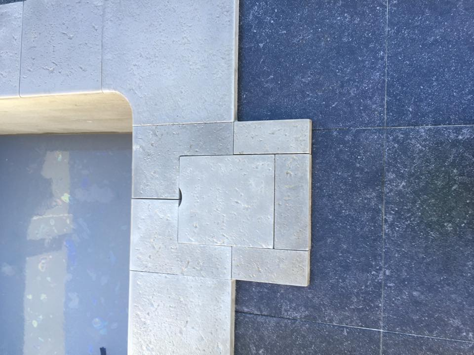 Travertine pavers Perth installation against limestone capping