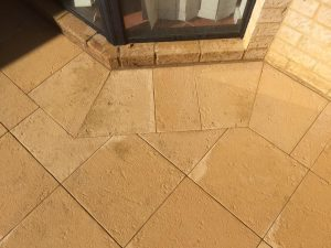Diamond limestone pavers around border area