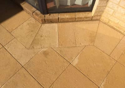 Diamond limestone paving around border area