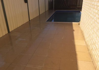 Paving leading to a pool