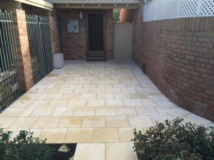 Limestone paving in a backyard area
