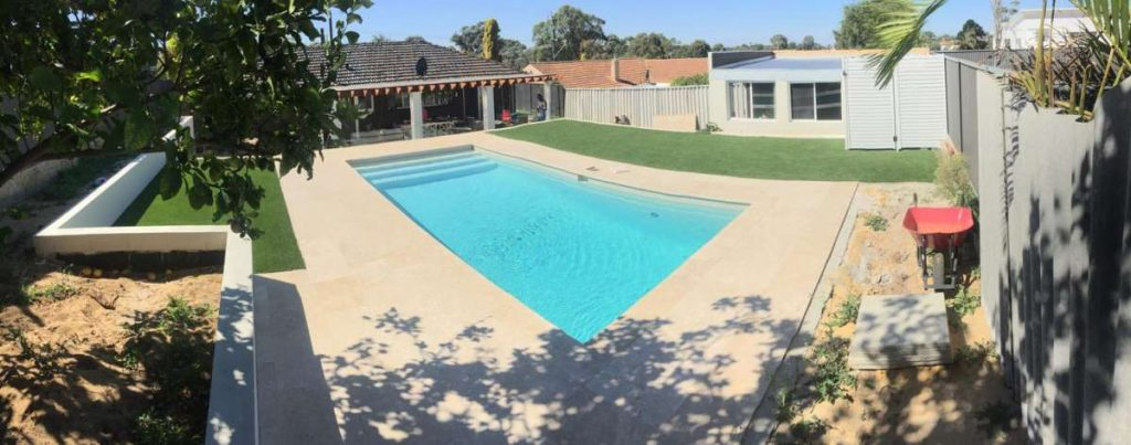 Pool paving and synthetic turf